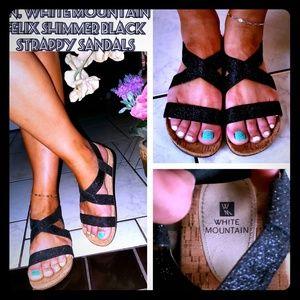 LN, White Mountain Felix shimmer black sandals